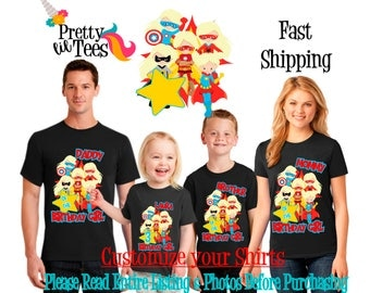 SUPERHERO Birthday Girl Theme Family BLACK Shirts For the Entire Family Mom Dad Brother and More T-shirts Long/ Short sleeve Crown Batman