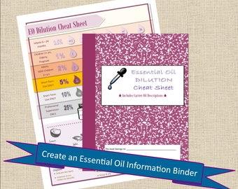 Essential Oil Book DILUTION Chart Cheat Sheet Health Printable, Family Organization, Planner Inserts, Planner Pages PDF Bullet Journal Pages