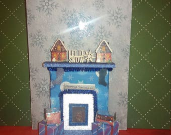 Contemporary 3D Bespoke Blue Christmas card + Christmas themed presentation box