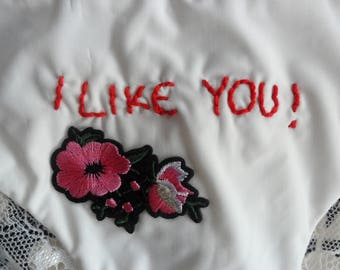 Hand stitched embroidered underpants knickers 'I like you' valentines gift. Size L