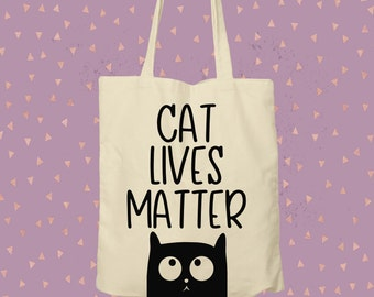 Give a tote a loving home / cat lives matter tote bag / shopping bag