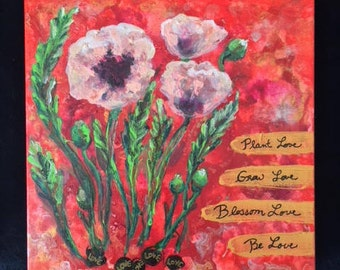 Inspired Pink Poppies 10x10x2 Acrylic Painting