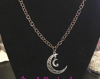Handmade silver double moon necklace