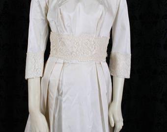 vintage 60s ivory TAFFETA WEDDING DRESS mini gown festival mod, mini dress, wedding gown