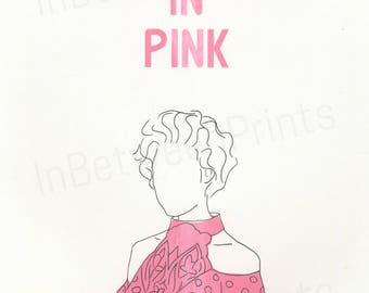 Pretty In Pink Limited edition 80s screen printed poster A4 onto thick paper