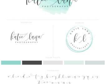 Logo Design, Photography Logo & Watermark, Logo Branding Package, Mint,Watercolour Logo, Calligraphy Logo, Brand Kit 006