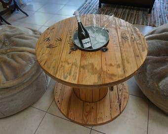 Custom wooden spool table (natural brown)