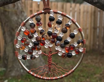 Black Red Agate & Quartz Crystal Gemstone Tree of Life Sun Catcher