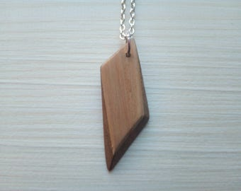 Beautiful wooden necklace with silver tone chain