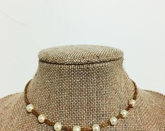 Pearl Gold Choker, gold choker, pearl choker, seed bead choker, dainty, cute, simple, choker