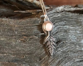 Rose Quartz and Fern Pendant
