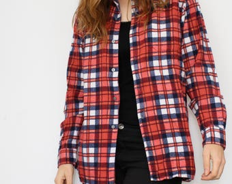 vintage checkered Flannel shirt - soft red white blue - 90s button down shirt - long sleeve blouse shirt for men - grunge - unisex - 39 / M