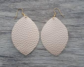 Boho Chic Pearl Pink Leatherette Drop Earrings