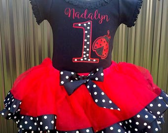 Little Ladybug Birthday First or Second Birthday Ribbon Tutu Set