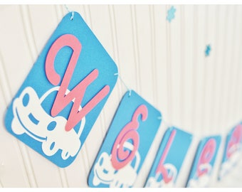 Boy car banner, banner ideas, baby boy car theme, baby boy, cars, personalized, welcome, baby shower, party decor, handmade, blue