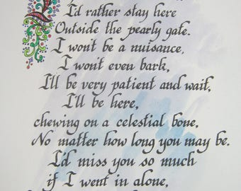 Hand lettered Calligraphy, Dog Lovers, Dog poem, Print of Original, Hand colored, Dog art