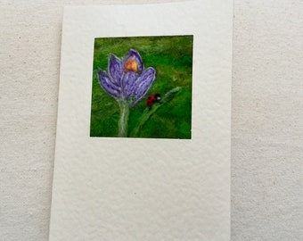 Needle felted greetings card - spring crocus flower and ladybird