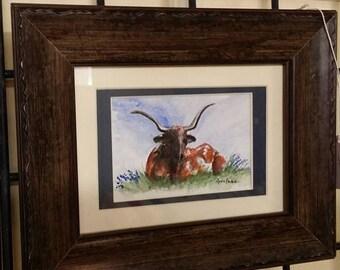 Longhorn Cow in the Bluebonnets 5x7