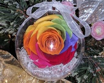 Real Preserved Rainbow Rose Christmas Ornament -  wholesale Forever Eternal flower Handmade Ornament