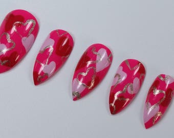 10 Pink and Silver Heart Nails, Press On Nails, Glue on Nails, Full Coverage Nails