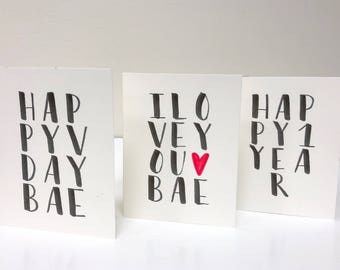 Set of 3 5x7 Hand lettered greeting cards// Valentines Day Card// Anniversary Cards// Birthday Cards