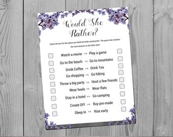 Bridal Shower Would You Rather Game - Slate Theme