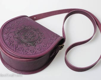 Purple shoulder bag, crossbody bag, genuine leather bag, round leather purse, messenger bag, hot tooled leather, unigue bag for her