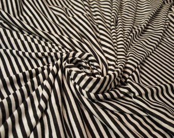 Black and white striped modal lycra blend knit fabric, one yard - striped knit fabric - poly rayon blend fabric - cotton lycra fabric