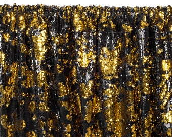 12 FT. Gold Black Sequin Backdrop Photo Booth Back Drop Sparkly Background Prop Wedding Event Birthday Anniversary Mermaid Flip Reversible