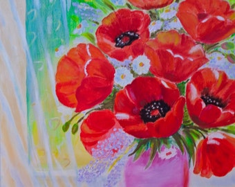 art painting original red poppies  painting oil painting original oil painting original flowers Oil Floral Painting Poppies painting 16 x 20