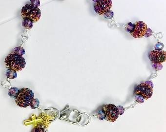Purple/Blue Beaded Bracelet