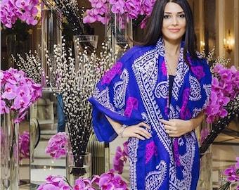 Silk Scarves 100 % Natural Hand Made Gift Lilac/Violet/Blue