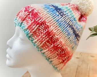 Hand Knitted Bobble Hat with Pom Pom Blue/Pink/White