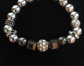 Light Hematite Bracelet with Bronze Glass and Silver Metal Beads