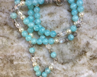 Crackled Ice Blue Quartz Beaded Necklace with Turtle Pendant