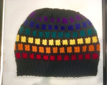 Knit Rainbow Stained Glass Hat, Black