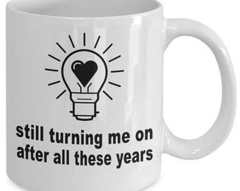Cheeky Valentines Gift - Naughty Funny Anniversary Gifts - Flirty Sexy Gift For Partner - Turn Me On - Ceramic Coffee Tea Cup Mug 11oz 15oz