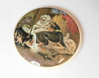 Antique Prattware/Staffordshire  pot lid With picture of Dogs on it