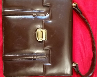 Vintage 60s Brown Leather Kelly Handbag / Purse Chocolate Brown Small   Spain