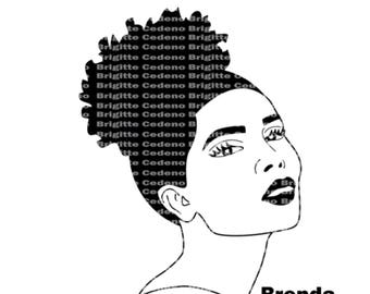 Brenda with an afro puff pixie cut svg, png, jpeg, file