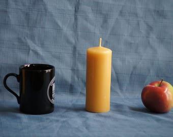 "Medium Handmade 100% Natural Beeswax ""Midi"" Pillar Candle - 14 cm x 5cm (5.5"" x 2"")"