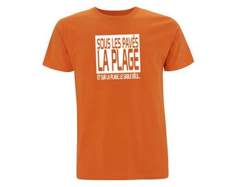 Organic cotton t shirt unisex orange Beach