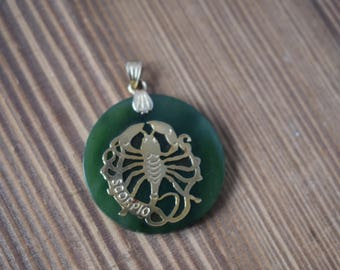 14kt Yellow Gold and Jade Scorpio Horoscope Pendant