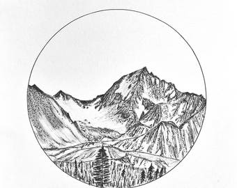 Alaskan Mountain Range Print A4 Black & White