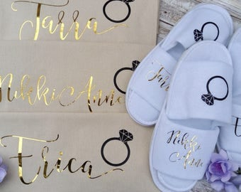 Personalized Slippers and Tote with Ring-Gold Lettering, Bridesmaid Gift Tote and Slippers, Wedding Tote bag and Slippers Set, Future Mrs