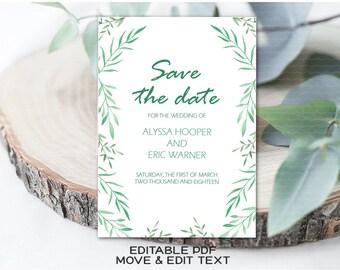 Greenery save the date invite Botanical save the date card Rustic save the date template Green save the date invitation Boho green - DIGITAL