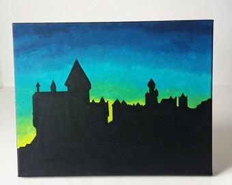 Hogwarts Silhouette Painting 11x14