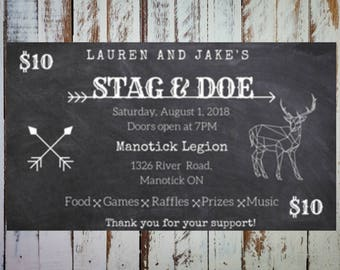 Chalkboard Stag and Doe Ticket, Personalized Digital File