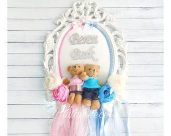 Twin Bears Door Hanger - Nursery Door Wreath- Twin Babies Room Decor- Personalized Nursery Decor- Baby Girl and Boy
