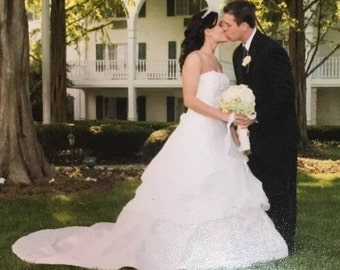 Stephen Yearick Wedding Dress With Cathedral Train | Stephen Yearick Wedding Gowns | Strapless Wedding Dress | Ivory Wedding Gown